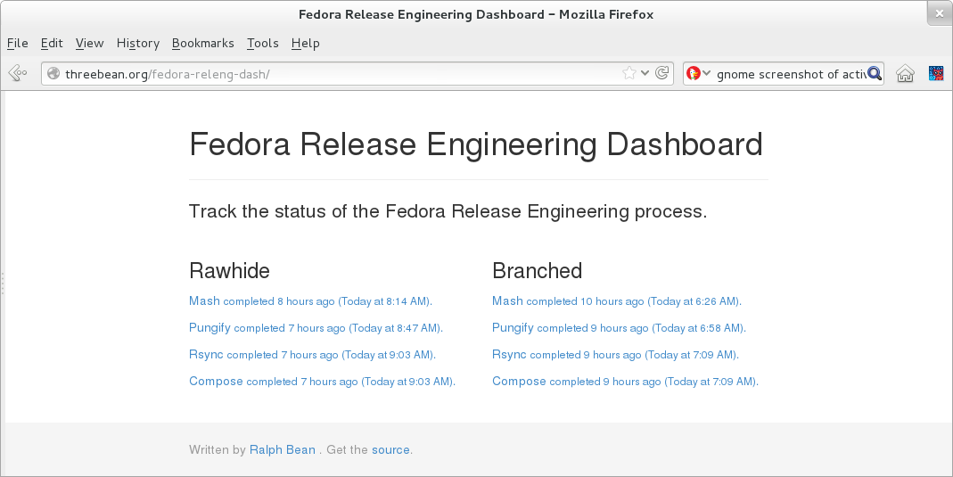 Screenshot of an alpha dashboard for Release Engineering.